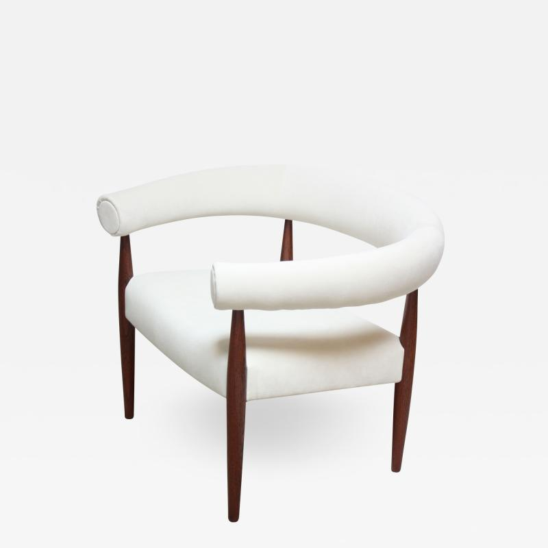 Nanna Dietzel Early Nanna and J rgen Ditzel Ring Chair in Suede and Teak
