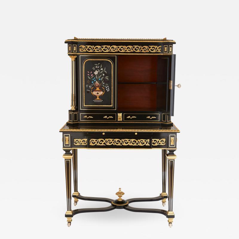Napoleon III hardstone and ebonised wood bonheur du jour