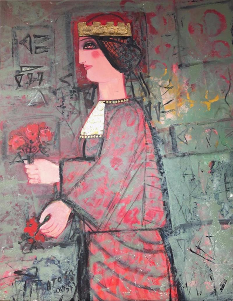 Nasser Ovissi Nasser Ovissi Iranian Born 1934 Queen Atosa Gold Oil on Canvas Painting