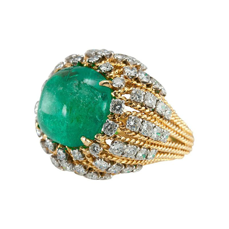 Natural Emerald Cabochon Diamond and Gold Cocktail Ring