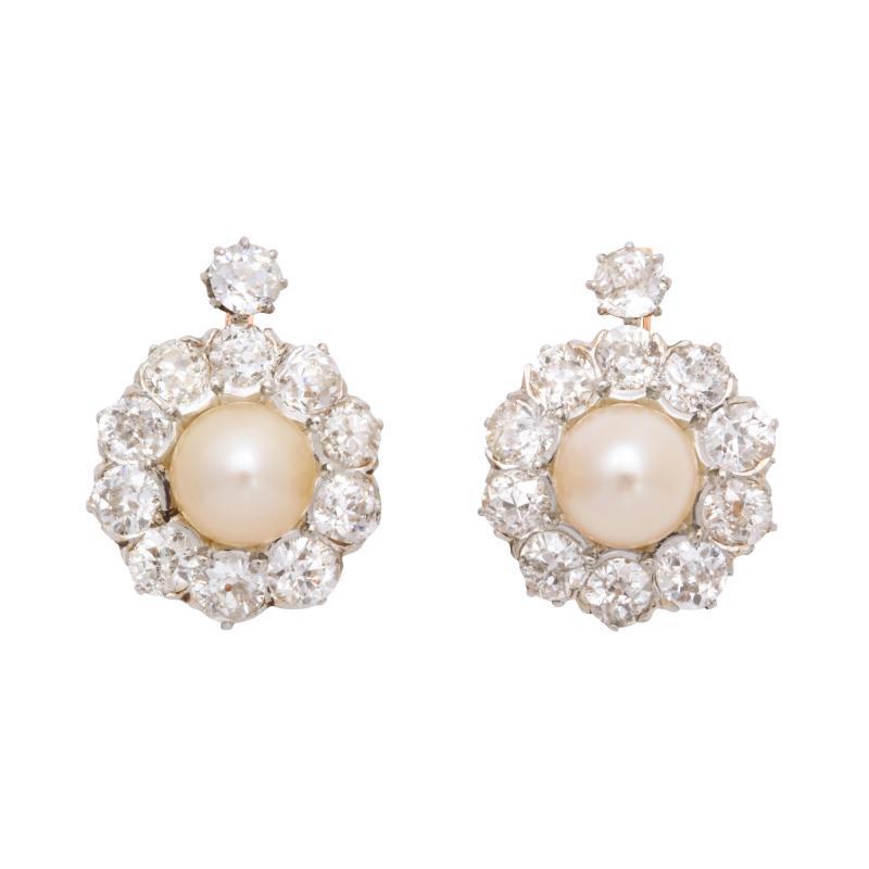 Natural Pearl Diamond Earrings