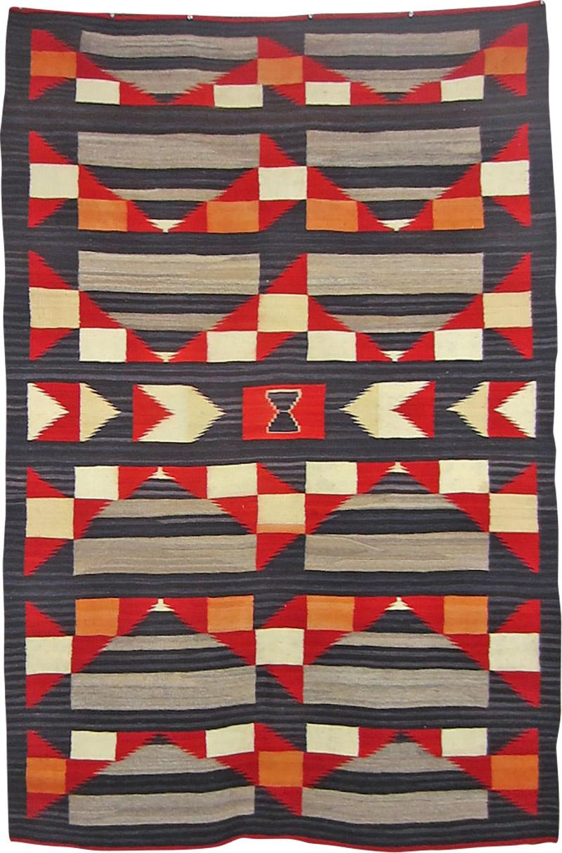 Navajo Dine Transitional blanket with moki and traditional designs
