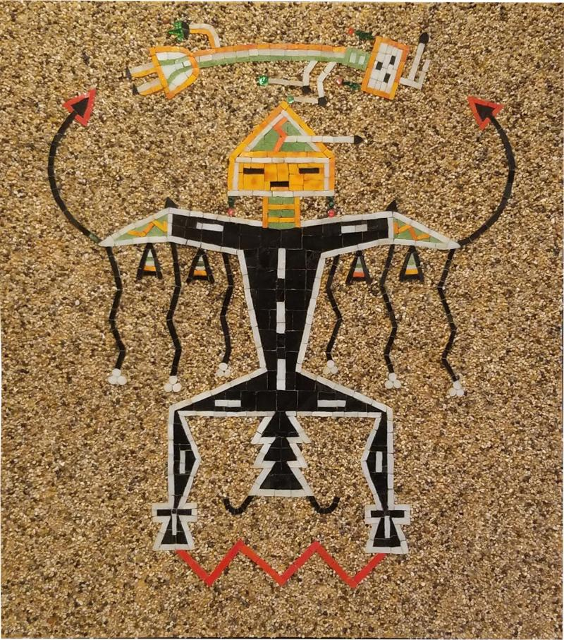 Navajo Sand Painting Mosaic Art Wall Panel of Father Sky 1960s