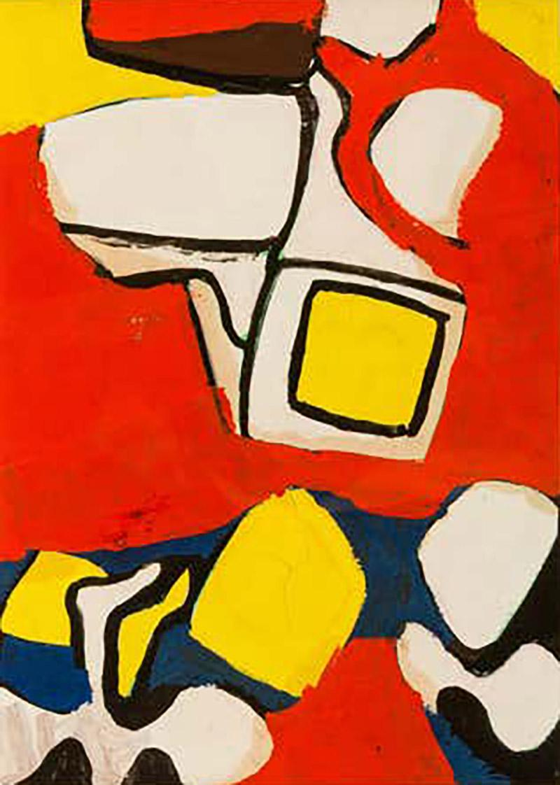 Nell Blaine Nell Blaine Abstract Gouache on Paper USA 1940s