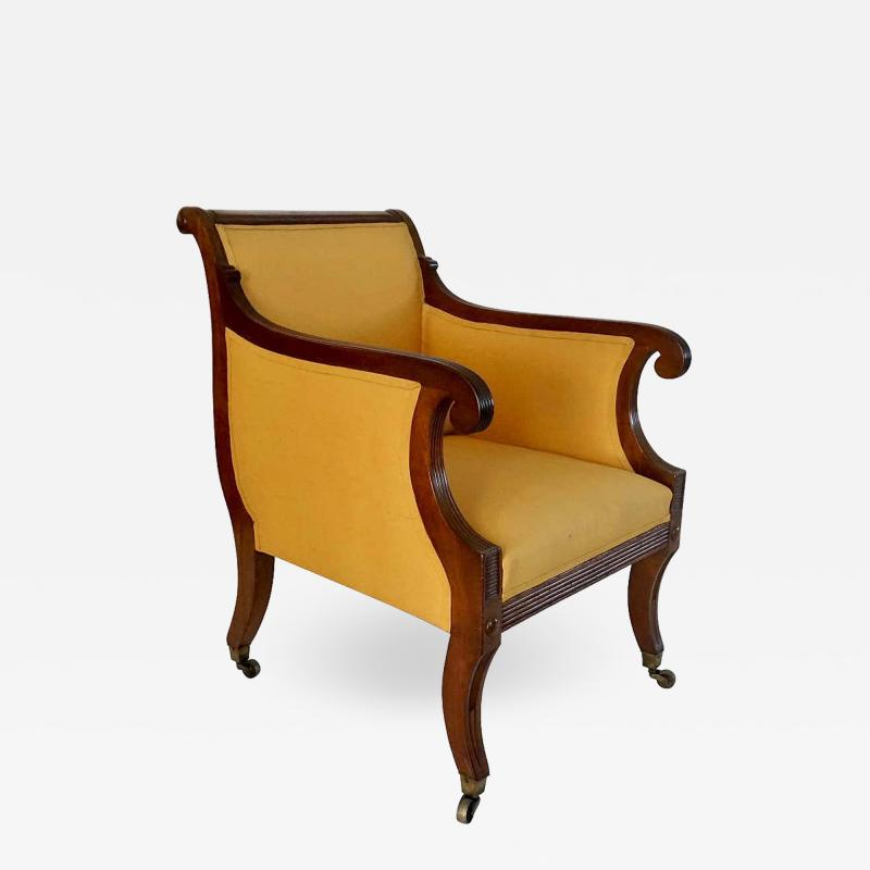 Neoclassical English Regency Upholstered Mahogany Bergere