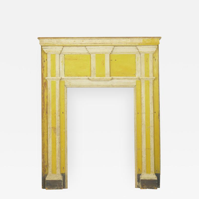 Neoclassical Federal Antique Fireplace Surround Mantel in Yellow White Paint