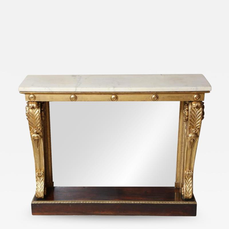 Neoclassical Giltwood and Rosewood Pier Table