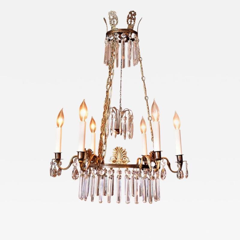 Neoclassical Style Brass and Crystal Chandelier