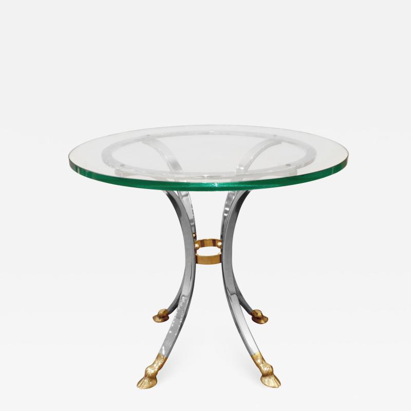 Neoclassical Style End Table in Brass and Steel 1960s