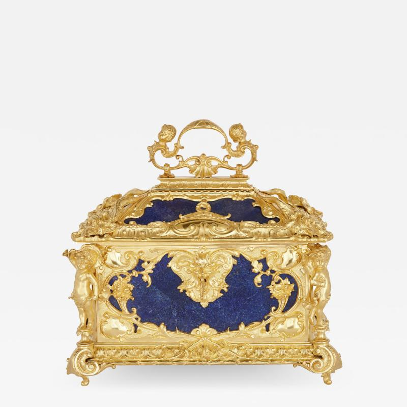 Neoclassical style blue lapis lazuli and gilt bronze jewellery casket