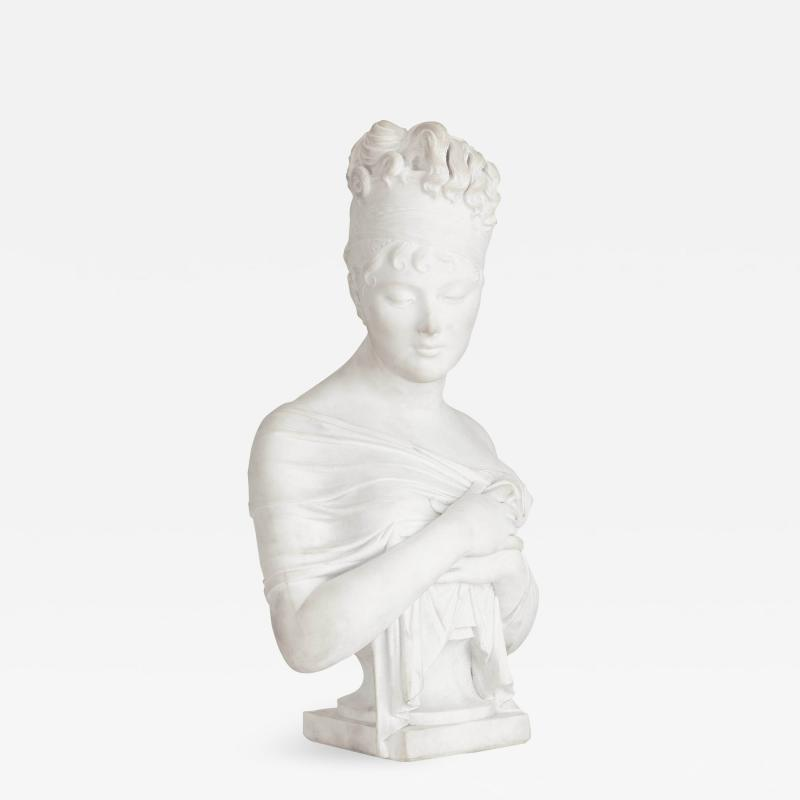 Neoclassical style marble female bust after Joseph Chinard