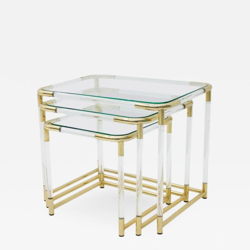 Nesting Tables in Brass Glass and Lucite circa 1970s