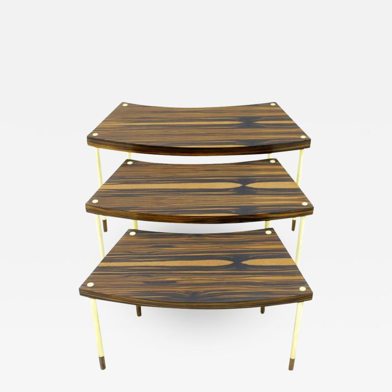 Nesting Tables in Brass and Macassar circa 1970s