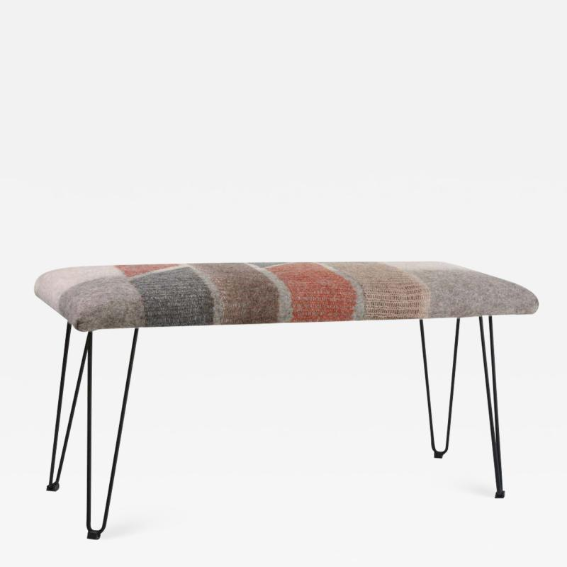 New Contemporary Hand Felted Wool Bench with 2 Cushions