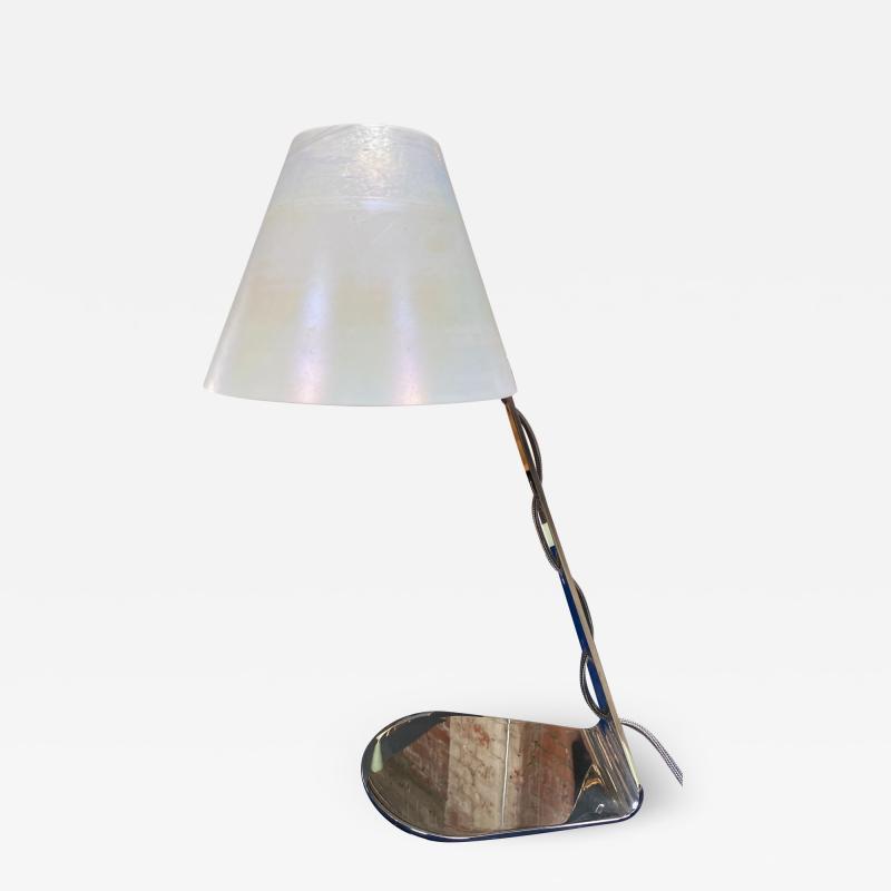 New Italian Midcentury Chrome And Murano Glass Desk Lamp 2000s