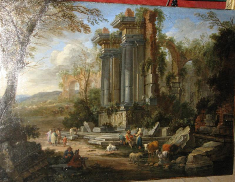 Nicholas Pietersz Berchem Elaborate Landscape with Figures and Animals Before Ruins