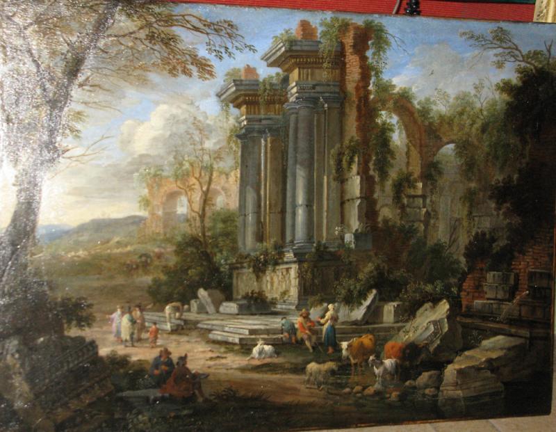 Nicholas Pietersz Berchem Elaborate Landscape with Figures and Animals Before Ruins
