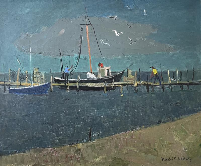 Nicolai Cikovsky Boats at Dock Montauk