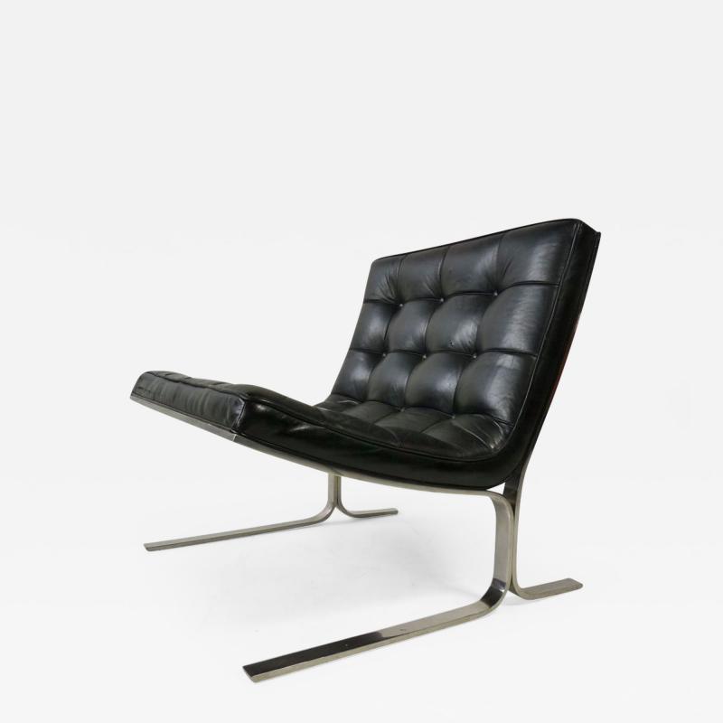 Nicos Zographos Nicos Zographos Black Leather Lounge Chair