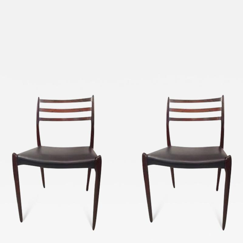 Niels M ller NIELS O MOLLER Pair of chairs in rosewood and leather circa 1954 Denmark