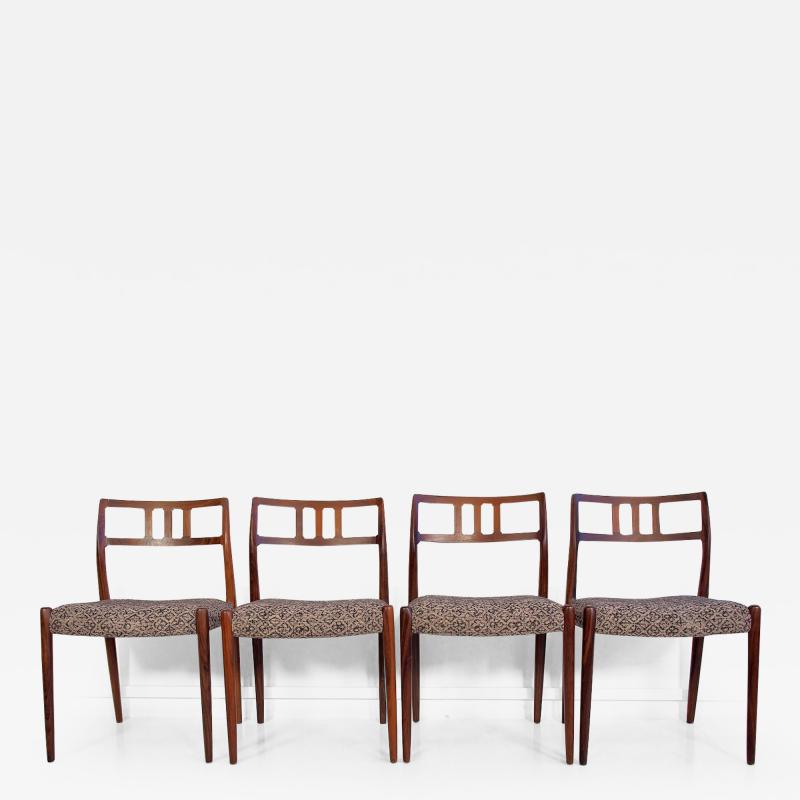 Niels Otto M ller Set of Four Hardwood Model 79 Chairs by Niels Otto Moller