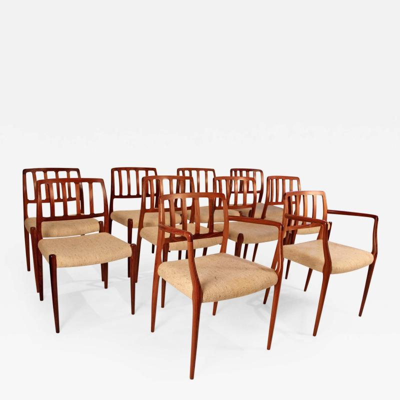Niels Otto Moller Set of 10 Dining Chairs in East Indian Rosewood by Niels Otto Moller