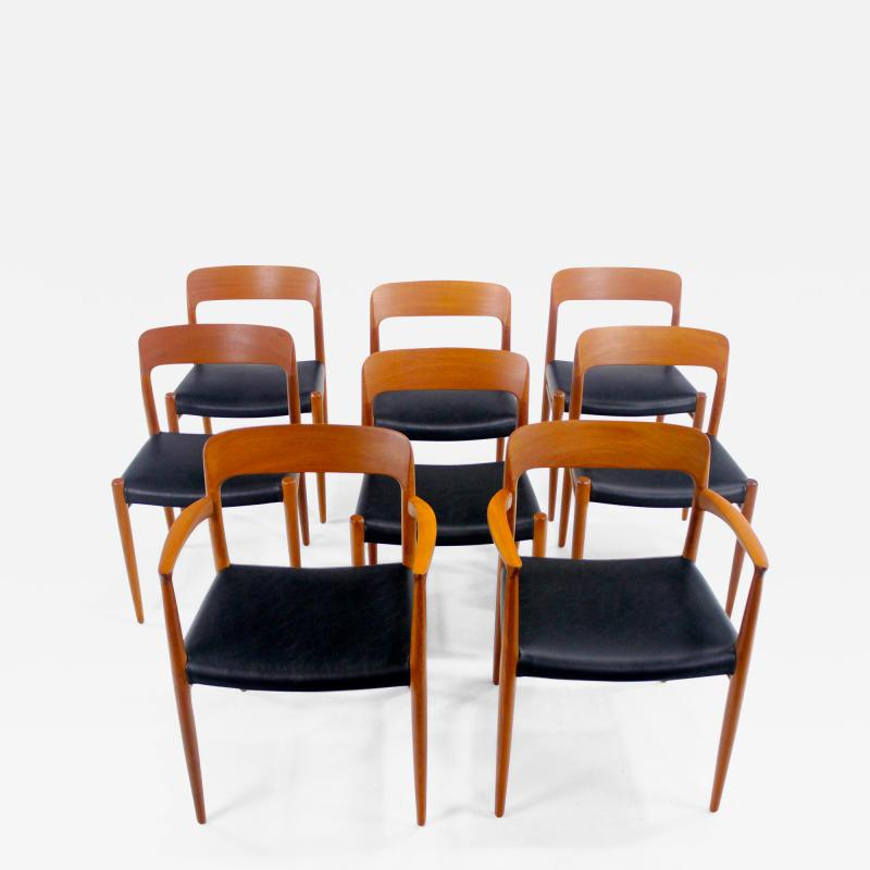 Niels Otto Moller Set of Eight Danish Modern Teak Dining Chairs Designed by Niels Moller