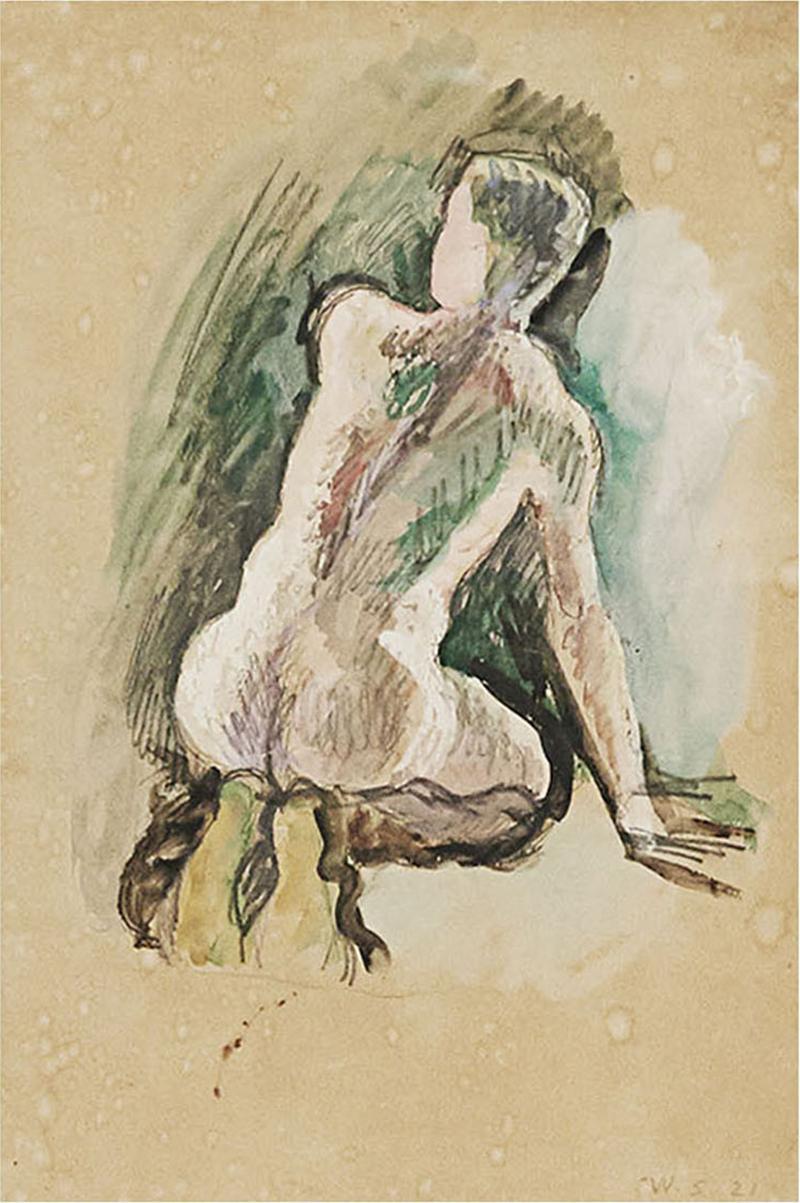 Niels William Scharff William Scharff Painting Nude back turned man Modernist painting Danish art