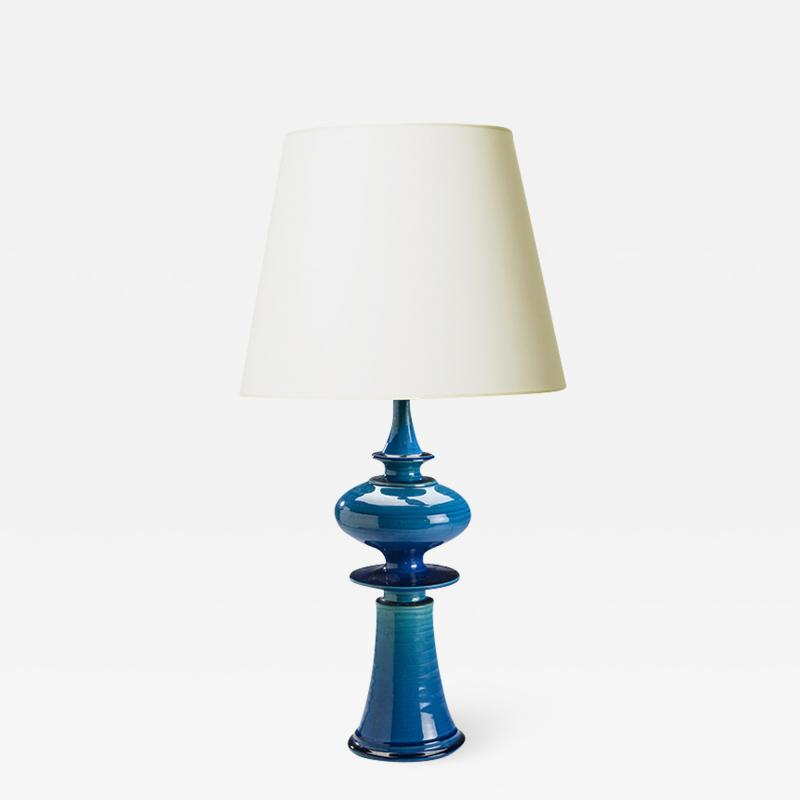 Nils Kahler Whimsical finial table lamp in bright azure by Nils Kahler
