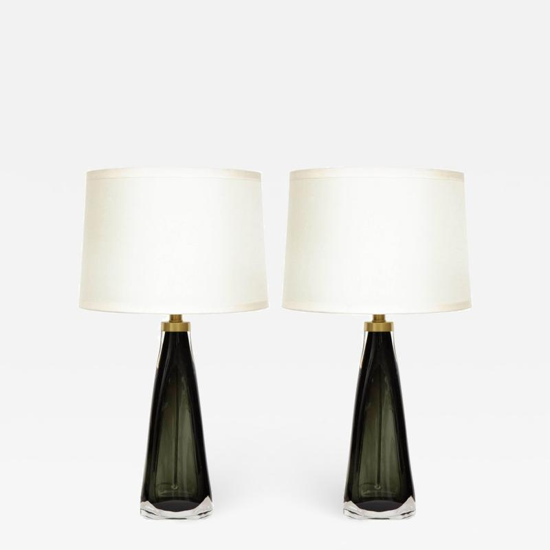 Nils Landberg Nils Landberg Orrefors Dark Bottle Green Lamps