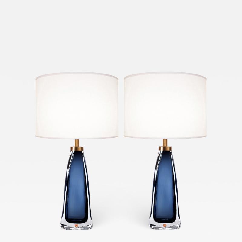 Nils Landberg Pair of Nils Landberg for Orrefors Blue Glass Lamps