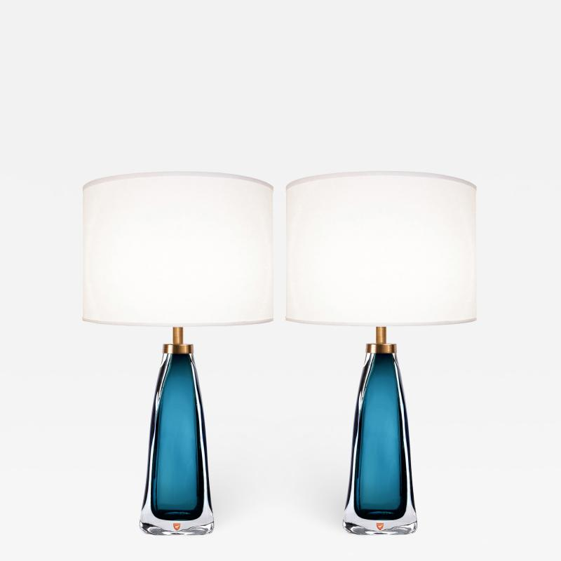 Nils Landberg Pair of Nils Landberg for Orrefors Teal Glass Lamps