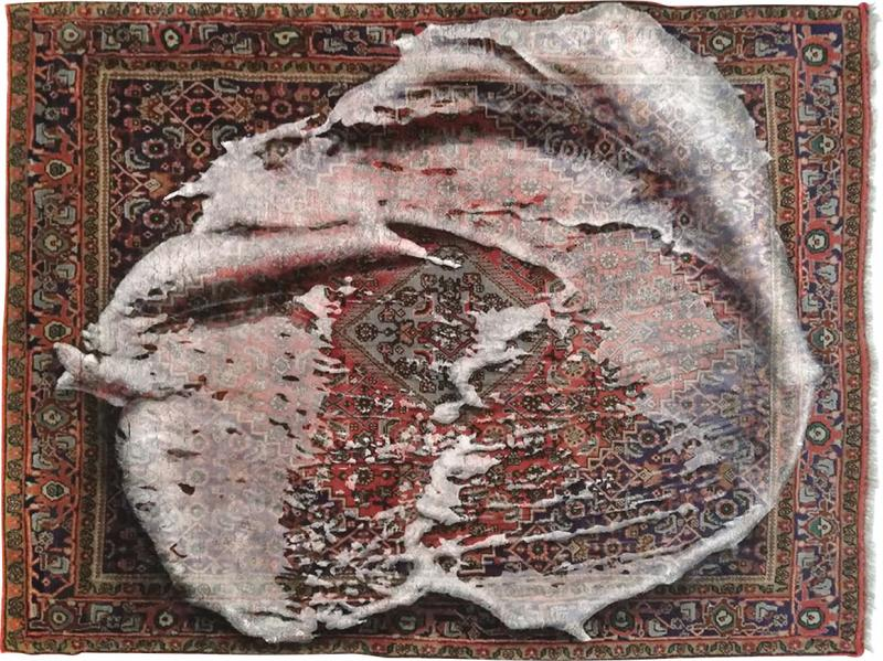 No mi Kiss FOAM ON RUG wallpiece tapestry artwork
