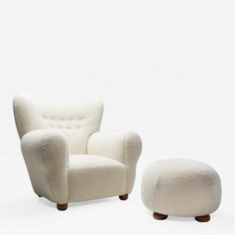 Nordic Modern Armchair and Ottoman with Bun Feet Scandinavia ca 1950s