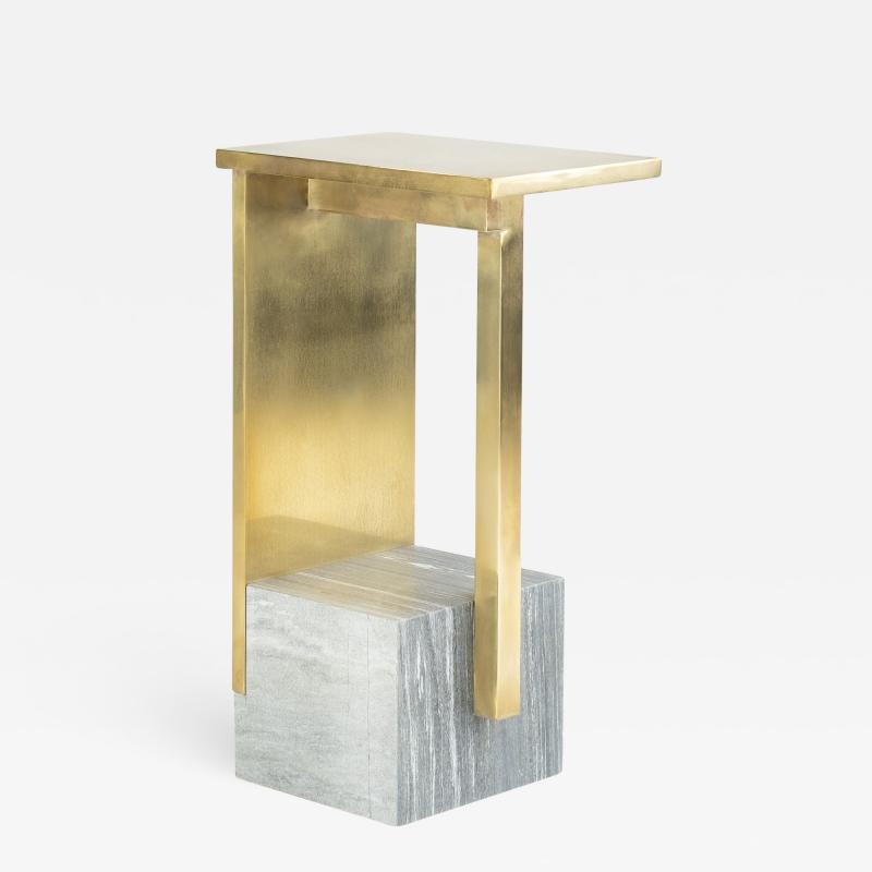 Noro Khachatryan IF Table IV Brass and Marble Signed Noro Khachatryan