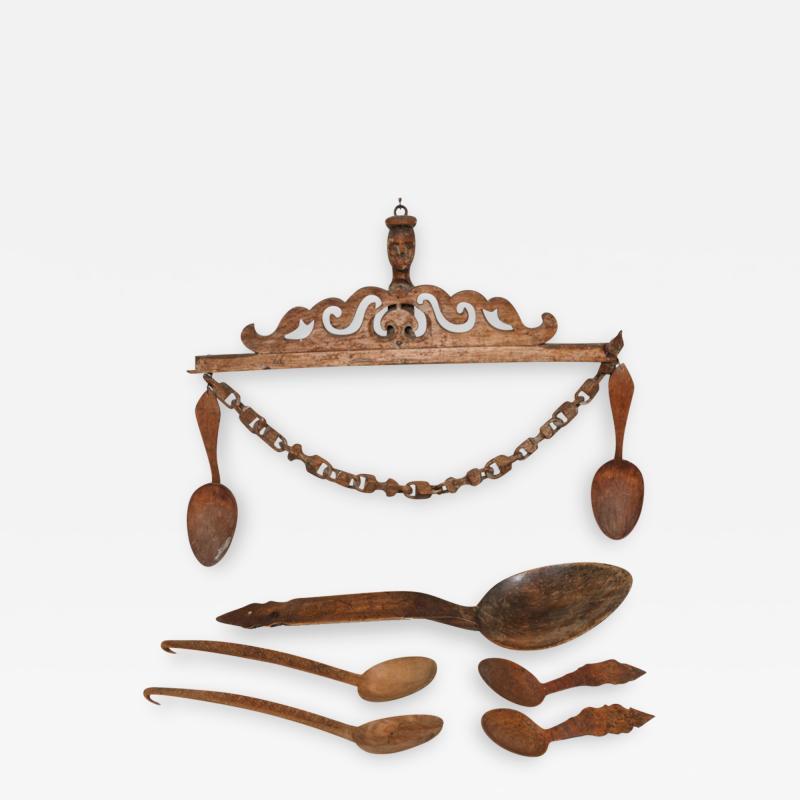 Norwegian Folk Art Spoon Rack and Spoon Collection