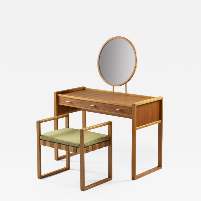 Nybro Fr seke Swedish Vanity Table in Teak Oak and Brass by AB Nybrofabriken