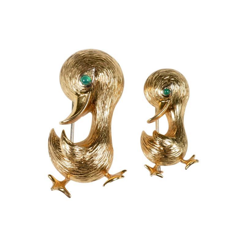 O J Perrin OJ Perrin Pair of 18 Karat Gold Duck Brooches
