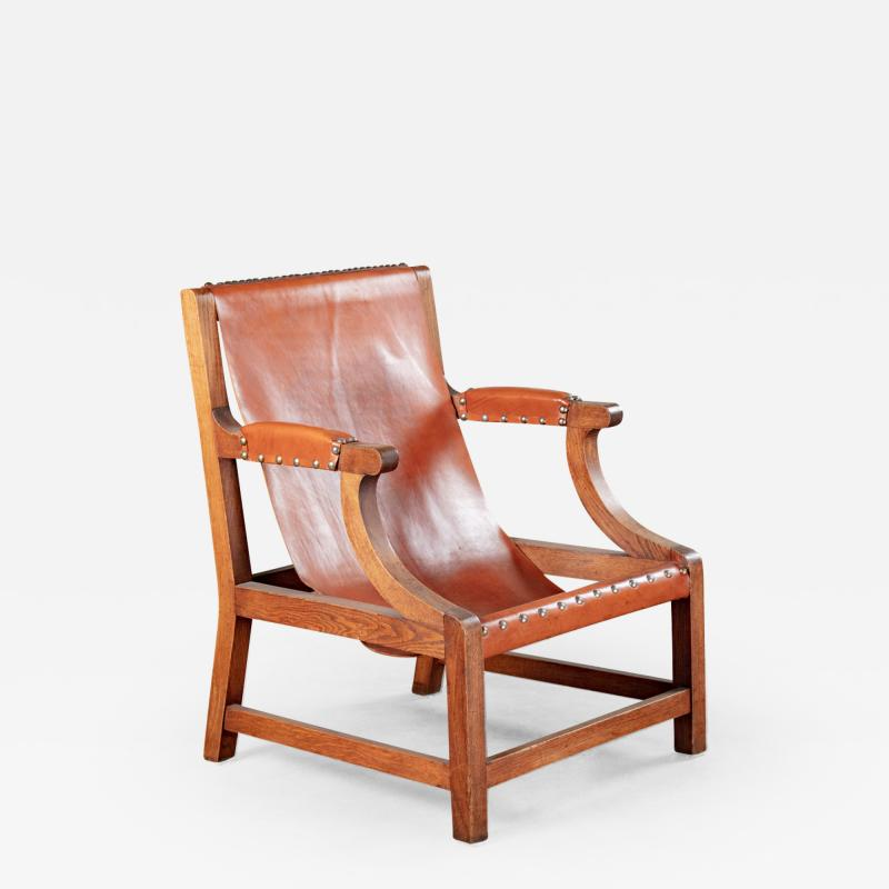 OPEN ARM CHAIR WITH SLING LEATHER UPHOLSTERY