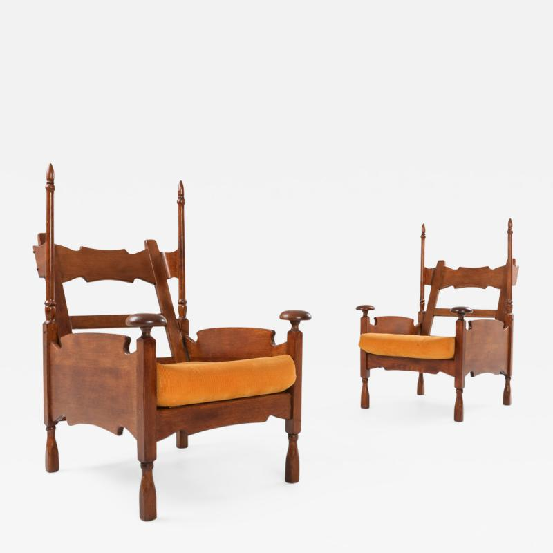 Oak Throne Chairs With Adjustable Side Table 1950s