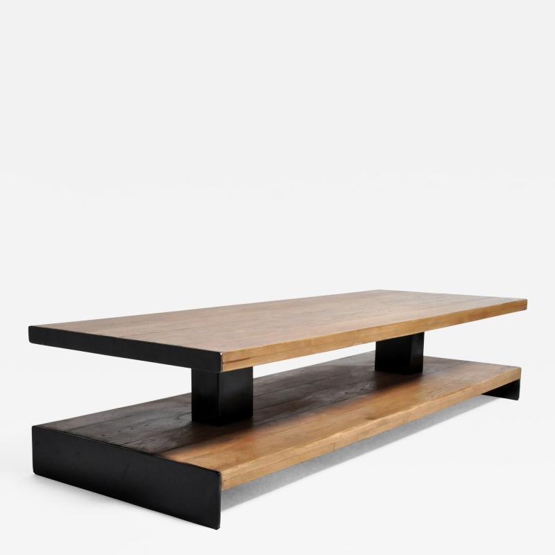 Oak Wood Coffee Table with Metal Trim