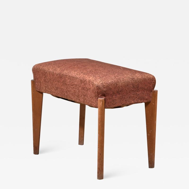 Oak piano stool or ottoman with thick cushion