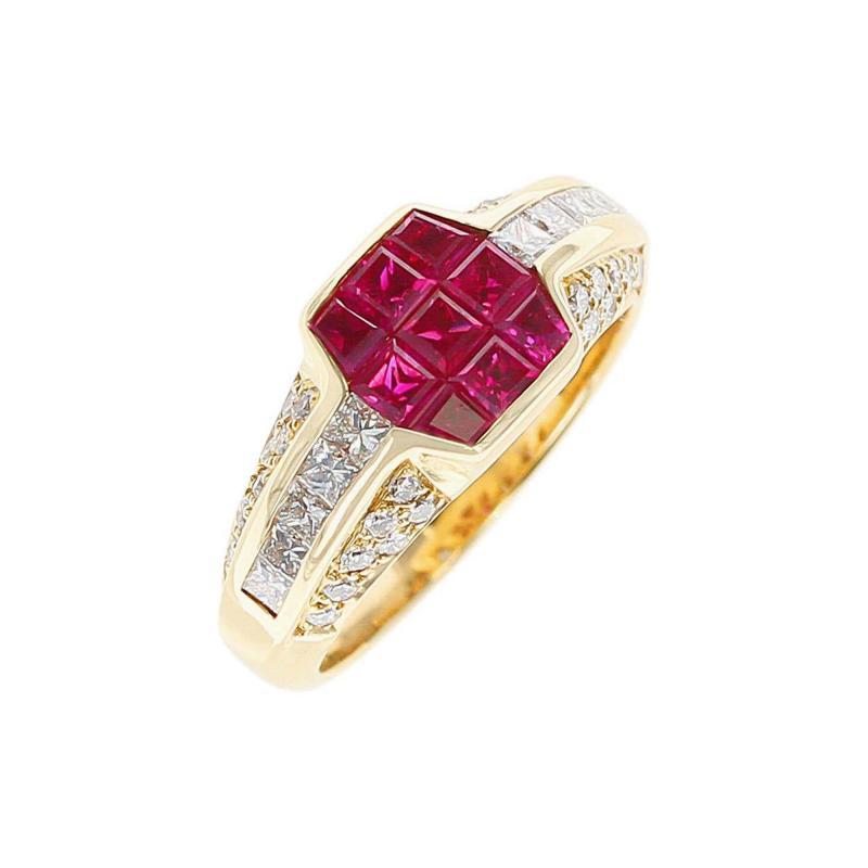 Octagonal Mystery Set Ruby and Diamond Ring 18 Karat Yellow Gold