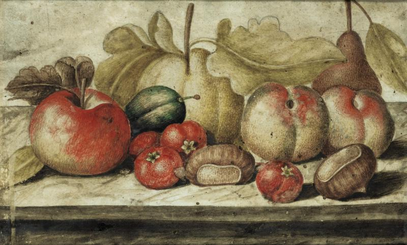 Octavianus Monfort Still Life with Fruit and Chestnuts on a Marble Ledge in Original Frame