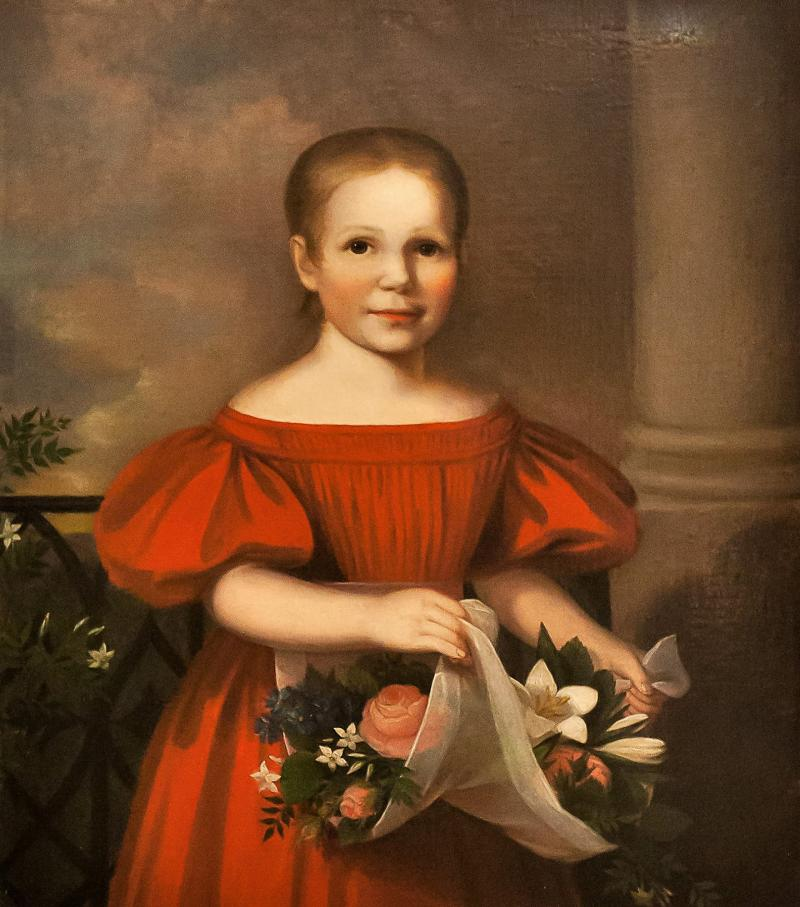 Oil on Canvas Girl in a Red Dress With Flowers Circa 1825 America