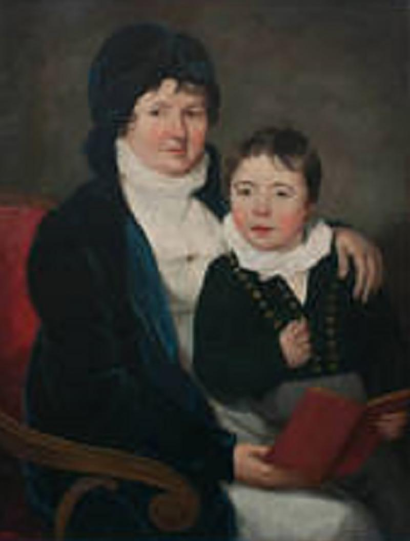 Oil on Canvas Mother and Son