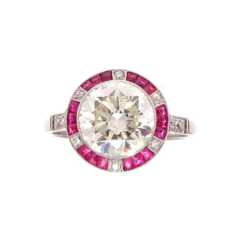 Old European Cut 2 81 Carat Diamond Ruby Platinum Engagement Ring