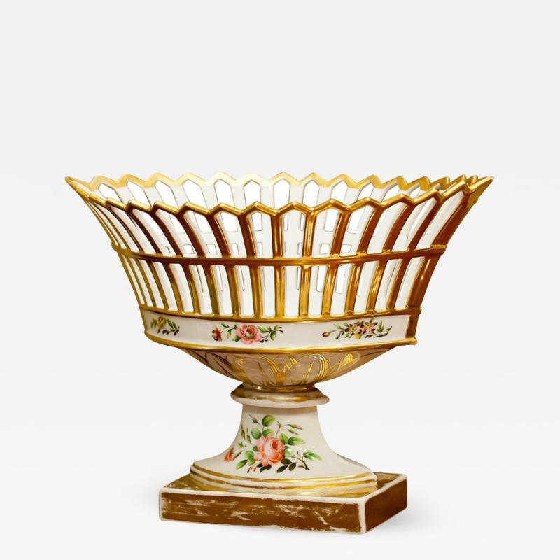 Old Paris Porcelain Reticulated Compote