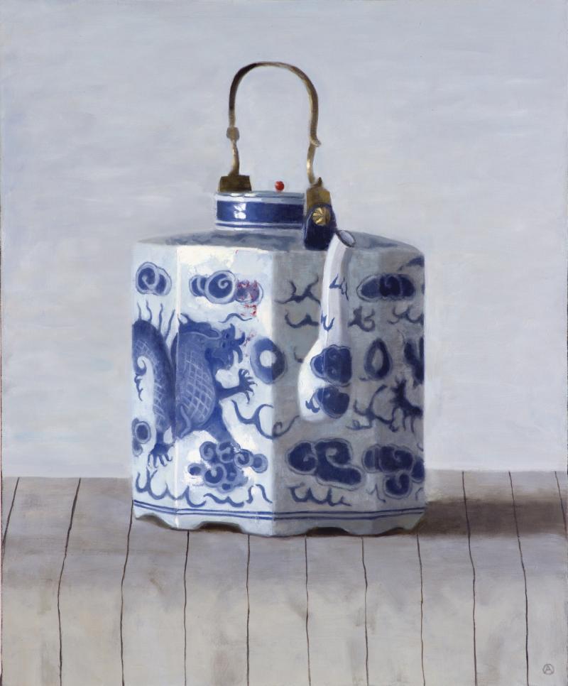 Olga Antonova Dragon Teapot on Stripes