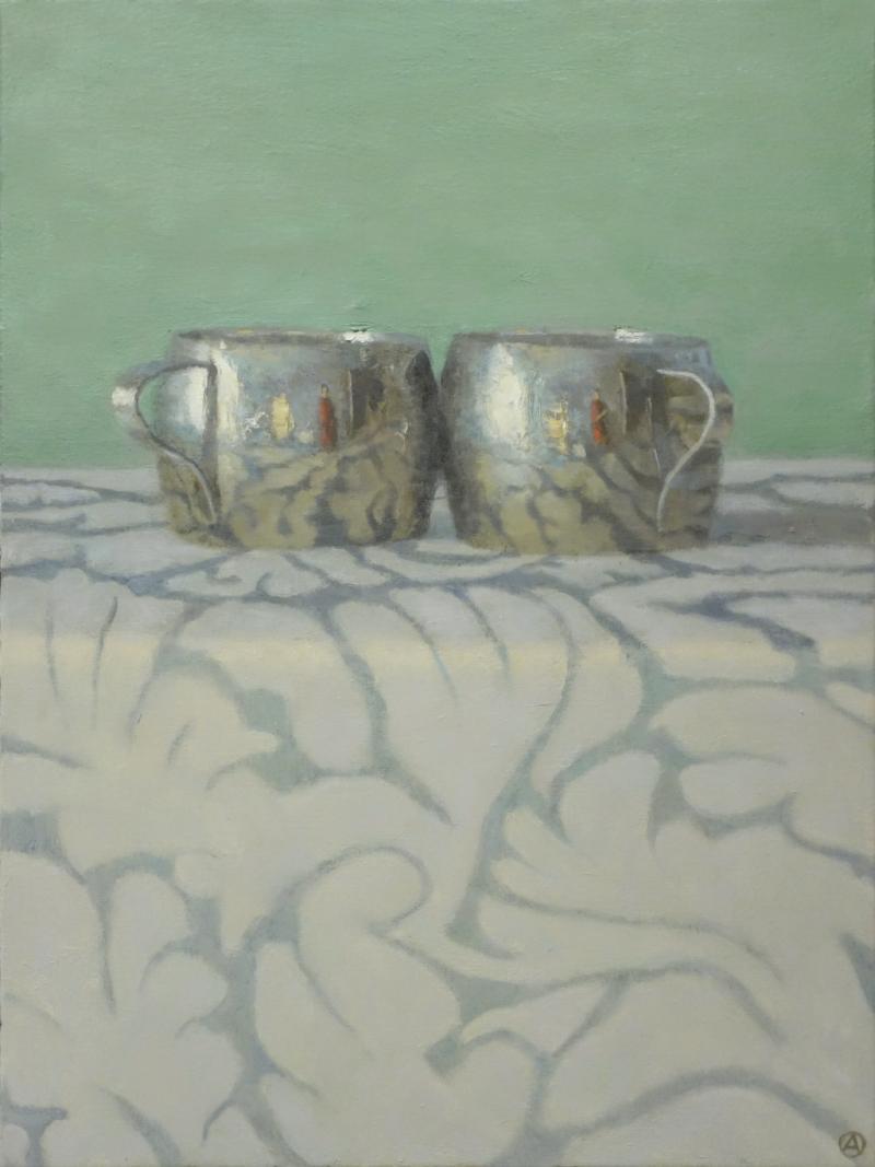 Olga Antonova Silver Cups on Patterned Cloth